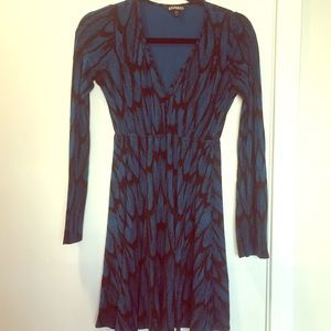 Express Blue and Black Dress